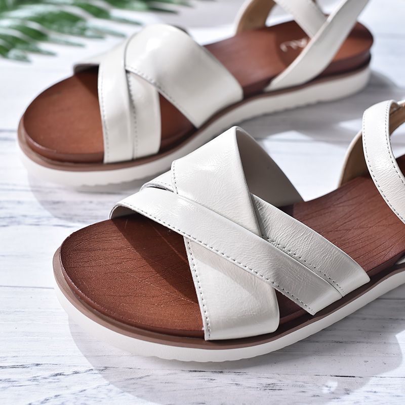 Dames Top Beautoday Croix En black Sandales Main Chaussures Cuir 32102 attaché Sangle Femmes D'été brown Beige Boucle Plates Véritable Qualité qpp7w