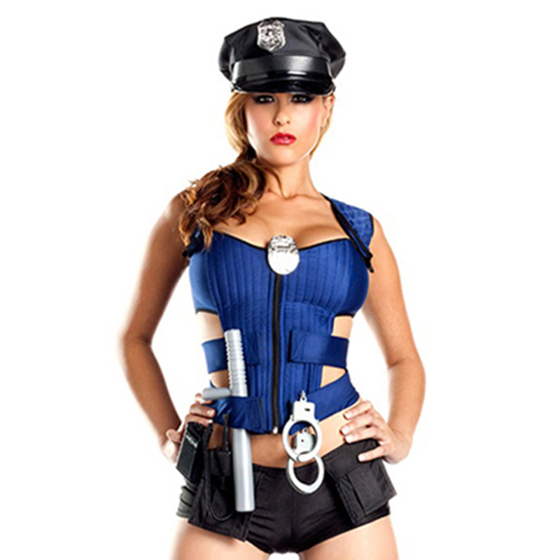 New Police Fancy Halloween Costume Sexy Cop Outfit Sexy Women Hot Erotic Romper Police -5648