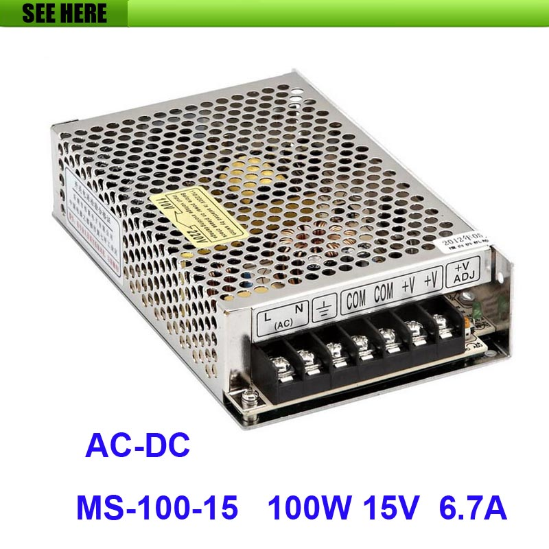 Free Shipping 100W 15V 6.7A Single Output Mini Size Switching Power Supply For LED Strip light MS-100-15