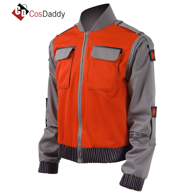 faea3438d17bf Back To The Future Cosplay Costume Jr Marlene Seamus Marty McFly Jacket  Orange Outwear Coat Made any Size CosDaddy