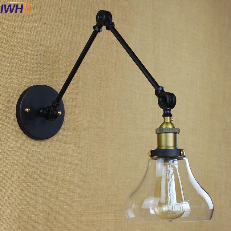IWHD Angle Adjustable Wandlamp Iron Antique Wall Sconce Black Loft Style Industrial Vintage Wall Lamp Led  Beside Glass arandela|wall sconce|antique wall sconce|antique style wall sconces - title=