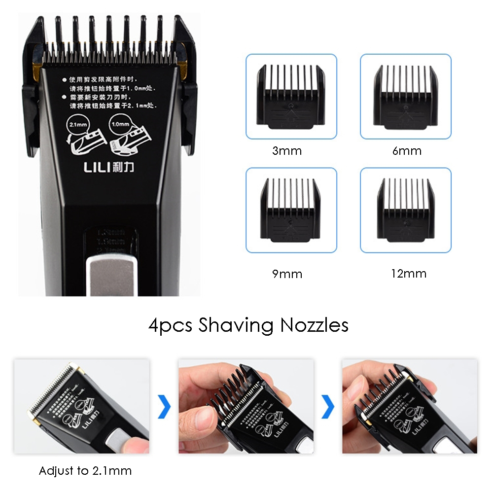 Professional Hair Clipper Rechargeable Hair Trimmer Beard Shaving Haircut Machine Salon Barber Hair Cutting Tool Lithium Battery