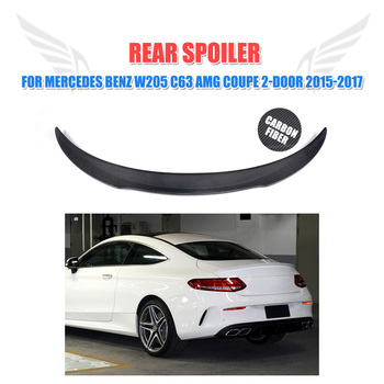 Carbon Fiber Rear Trunk Spoiler Wing Lip Sticker for Mercedes Benz C-Class W205 C63 AMG Coupe 2-Door 2015 - 2017