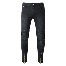 New Mens Jeans Trousers Slim Denim Straight Fashion High Street Men Jeans Skinny Hole Destroyed Men Ripped Jeans Black Color цена