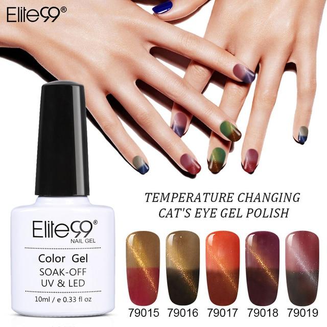 Elite99 Mode Cat Eye Temperatur Farbwechsel Gel Lack 10 teile/satz Langlebige Soak Off UV LED Glitzernde Nail art Gel lack