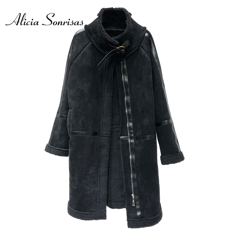 Women Long Sheepskin Coat New 2018 Thick Warm Suede Jacket Winter Cashmere Lamb Fur Long Coats