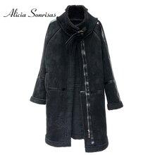 Женская длинная дубленка новая 2018 Толстая теплая замшевая куртка зимняя кашемировая овечья шерсть Длинные пальто AS100603