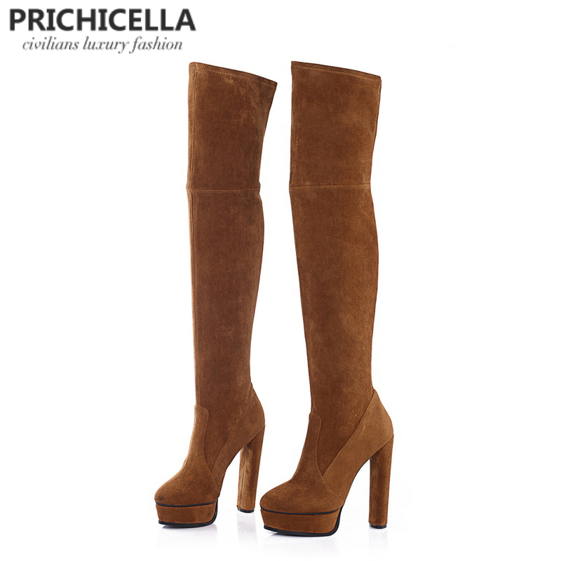 PRICHICELLA redwine genuine leather side lace-up thigh boots stiletto heels sexy autumn winter high booties