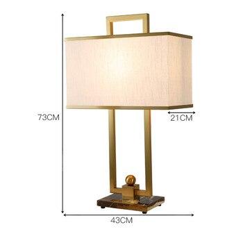 SGROW americano Simple Base de mármol Lampe de mesa diseñador abajur moderna tela pantalla luz del escritorio para dormitorio Lampara