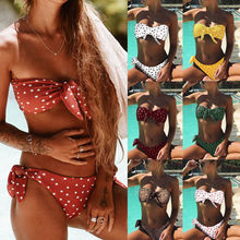 2019 New Style Fashion Hot Ladies Bikini Set Tops Cut Out Padded Bow Dot Women Swimsuit Low Waist Plus Size