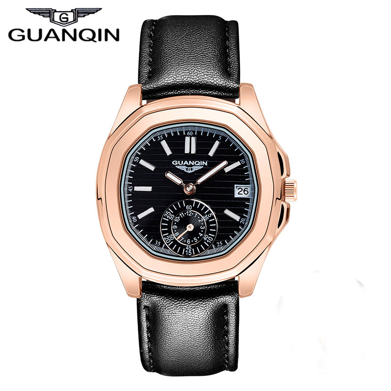 ФОТО Watch Women Luxury Brand GUANQIN Fashion Casual Genuine Leather Watch Band Waterproof Quartz-Watch Wristwatch Relogio Feminino