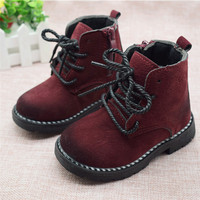 Size 21 30 Fashion 2017 Autumn Boys Baby Boots For Girls Children Martin Boots Kids Ankle
