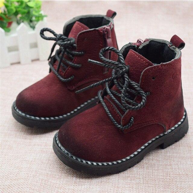 גודל 21-30 אופנה 2019 סתיו בני תינוק מגפי בנות ילדי מרטין מגפי ילדים קרסול Zip סניקרס ילדה מזדמן לדדות נעליים