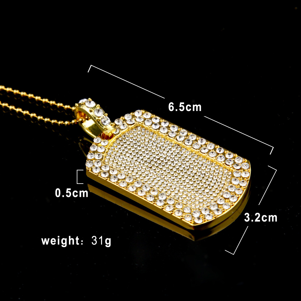 Bling golden smooth army card rhinestone pendant necklaces men women bling golden smooth army card rhinestone pendant necklaces men women hip hop charm military cosplay chains chokers in pendant necklaces from jewelry mozeypictures Images