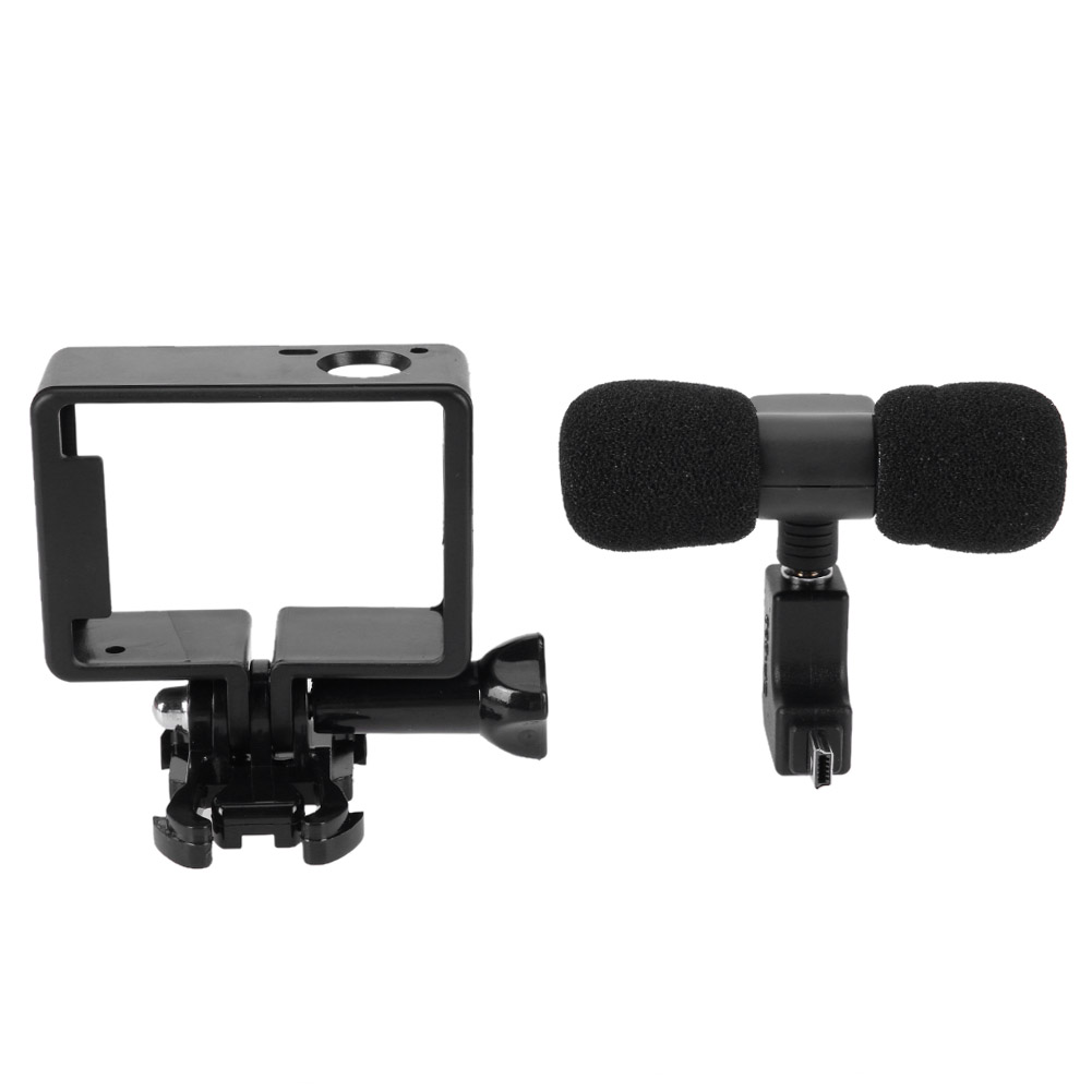 где купить Mini Microphone Stereo 3.5mm Camera Accessory for GoPro Hero 3/3+/4 Protective Frame L-shaped Connector for GoPro No Noise Mic по лучшей цене