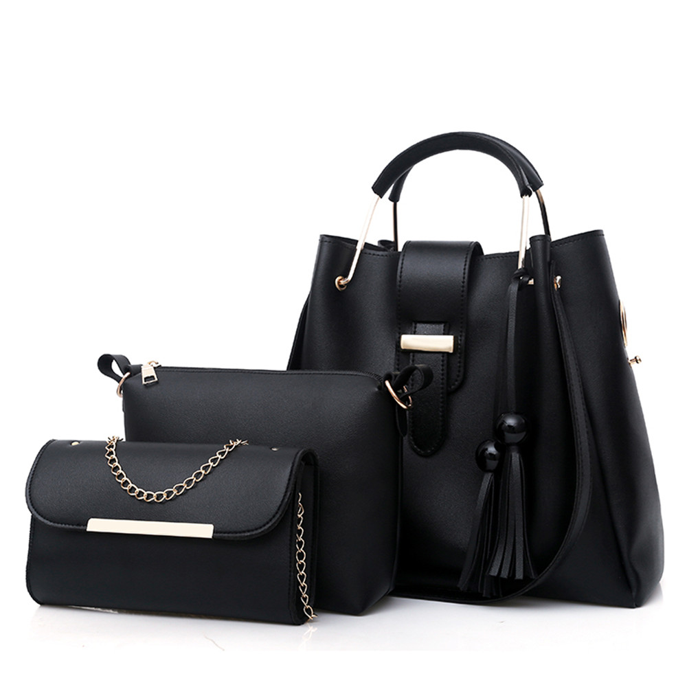 Women 3Pcs/Set Handbags PU Leather Shoulder Bags Casual Tote Bag Tassel Metal Handle Designer Composite Messenger Bag Purse Sac 2018 women 3pcs set handbags pu leather shoulder bags tassel handle designer composite messenger bag casual tote bag ll408