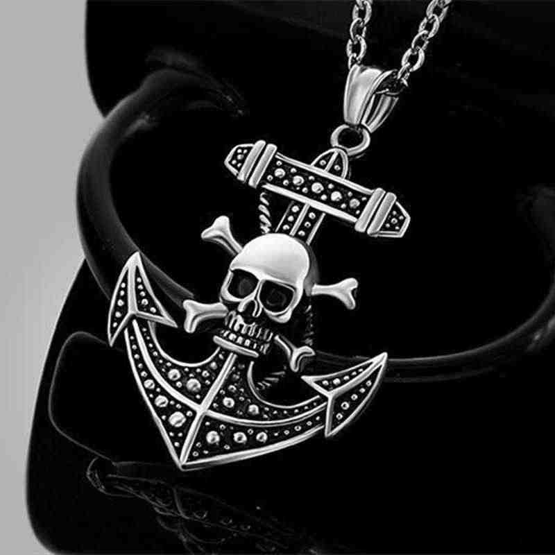 Metal Jewelry Accessories Skull Anchor Pendant Necklace Cheap Fashion Stainless Steel Wild Men Gift Hot Necklaces Exaggeration