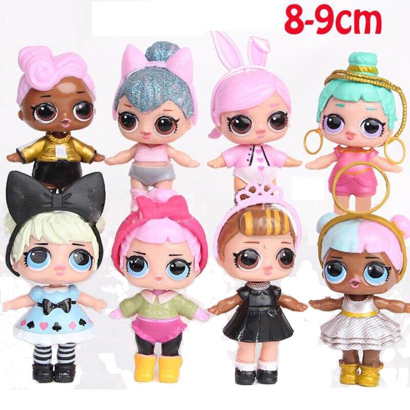 8pcs / 6pcs Cartoon 7-9cm LOL Dolls Cute Baby Glitter Princess Dress Dolls  Figures Action Toys Anime For Kid's Birthday Gift