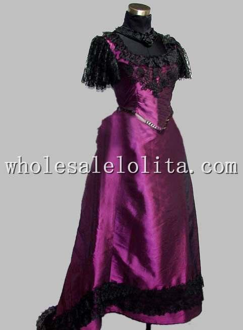 Gothic Black and Purple Thai Silk & Lace Victorian Bustle Dress