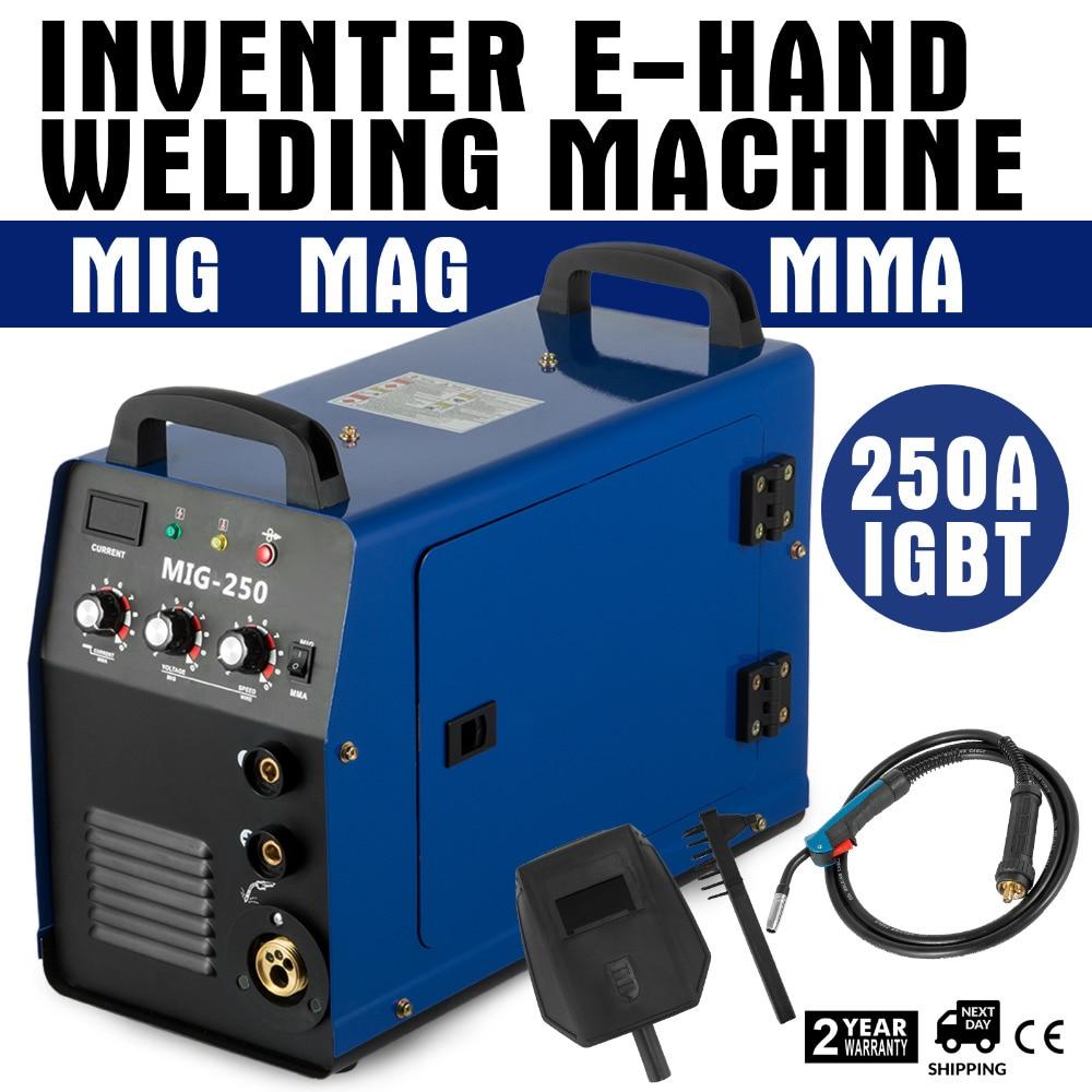 MIG Schweißer Inverter Gas/Gaslose MMA 3-in-1 IGBT 230 v 250 Amp DC Maschine