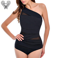 2016 New Arrival Women One Piece Swimsuit Plus Size Swimwear Mesh One Shoulder Bathing Suit Sexy