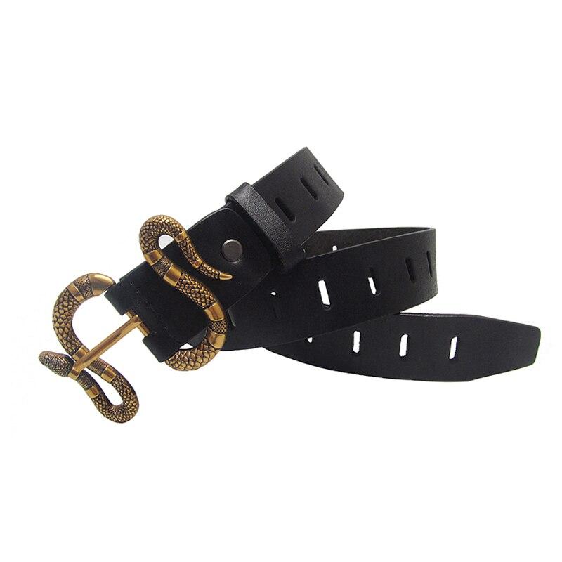 Western jeans new men leather belt hellowout snake buckle belt fashion popular black belt