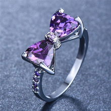 Cute Silver Purple Bowknot Bow Rings for Women Wedding Engagement Fashion Jewelry 2019 New