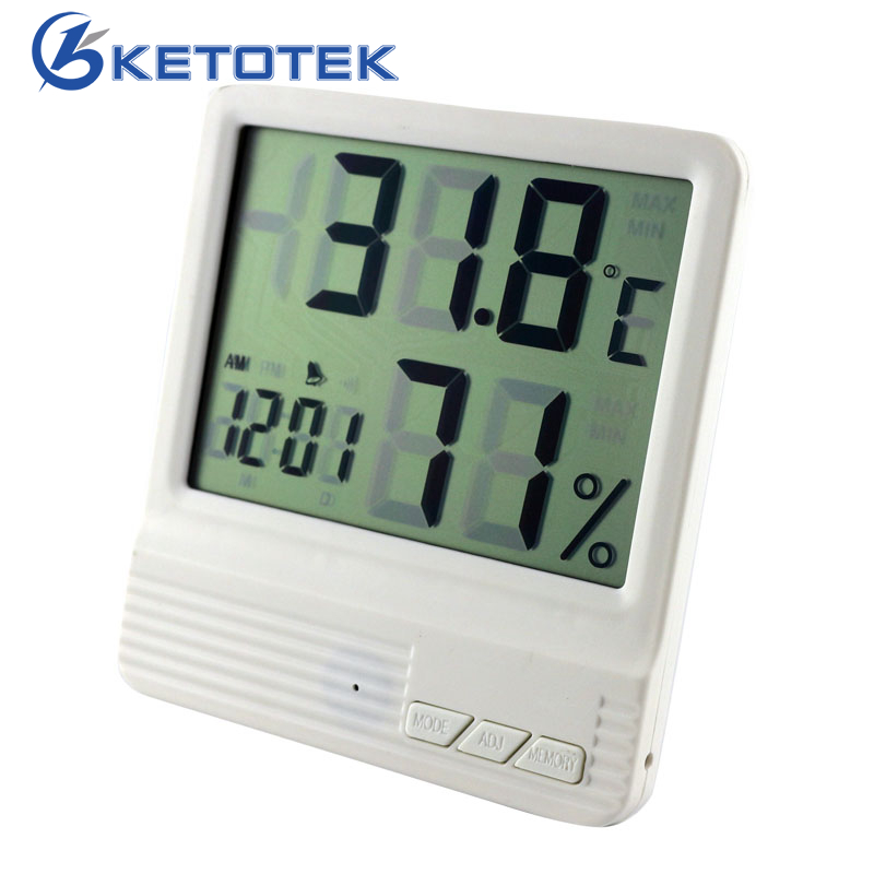 цена на Indoor Weather Station Digital LCD Thermometer Hygrometer Alarm Clock Electronic Temperature Humidity Meter Monitor Termometro