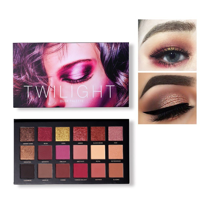 <font><b>18</b></font> Colors Eyeshadow Makeup Palette Matte Shimmer Pigmented Pressed Glitter Eyes Shadow Natural Long Lasting Cosmetic image