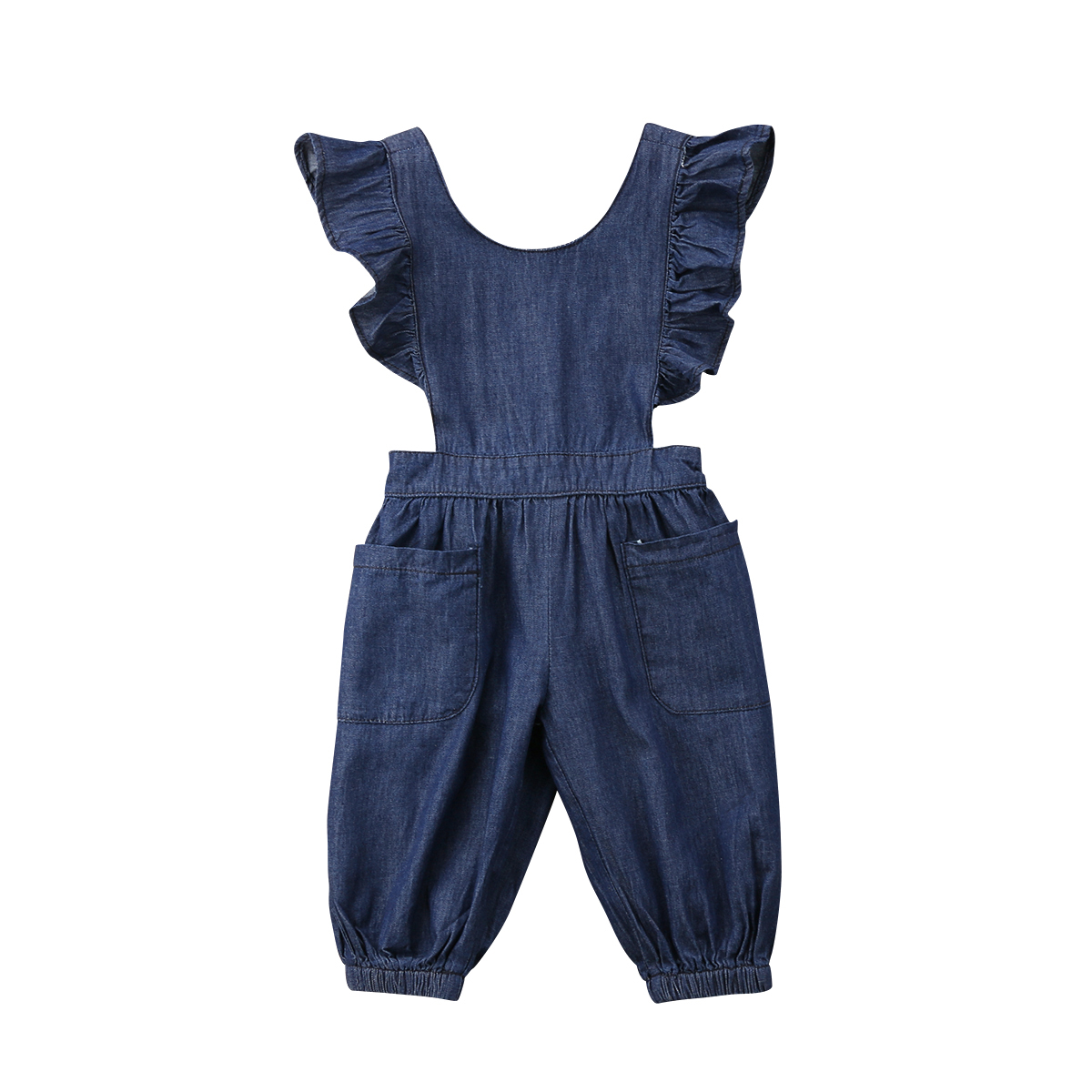 Bodysuits Toddler Kids Baby Girls Romper Solid Ruffle Denim Ruffle Sleeveless Rompers Blue Jumpsuit Outfits Girl Clothing Cute Clothes Mother & Kids