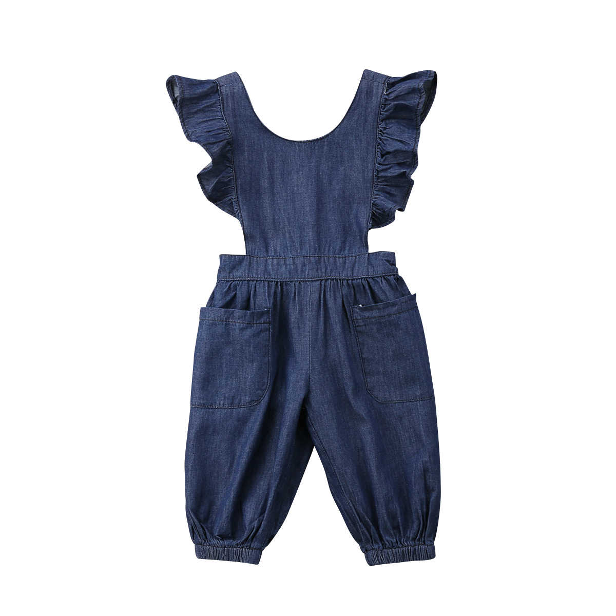 4a2adcf9709 Newborn Infant Baby Girls Denim Overalls Rompers Sleeveless Jumpsuit  Outfits Sunsuit Cute Summer Girl Clothes Backless