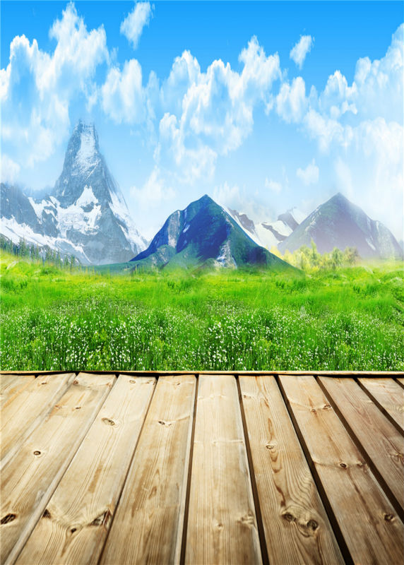 Sky Photo Vinyl  Baby Background Mountain Studio Props Wooden Floor Photography Backdrops 5x7ft or 3x5ft JieQX272