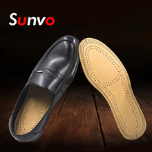 цена на Sunvo Leather Insoles for Men Women Business Casual Shoes Pad Ultra Thin Instantly Absorb Sweat Comfort Replacement Inner Soles