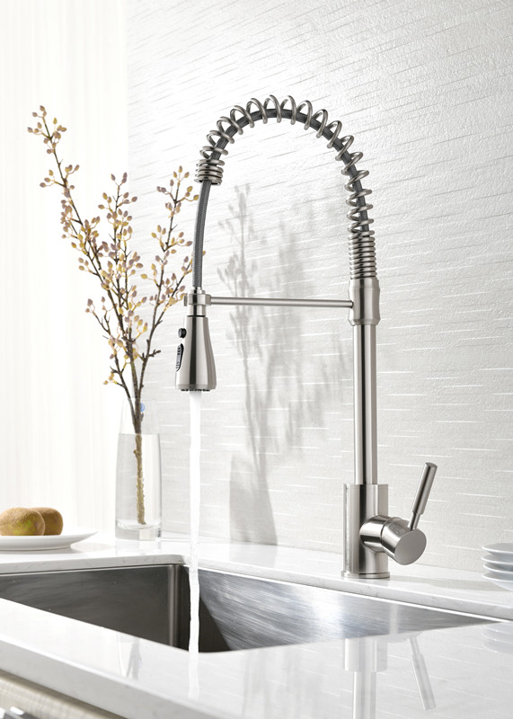 Contemporary Pull out Pull down Centerset Pull out Spray Ceramic Valve Single Handle One Hole Brushed nickel Kitchen sink faucet