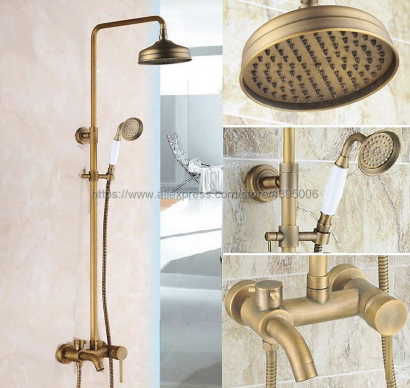 Antique Brass Bath Shower Mixer Faucet Tub Spout Wall Mount 8