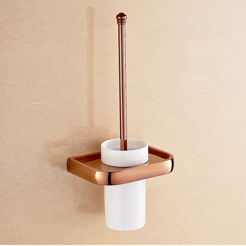 Rose Gold Toilet Brush Holder Square Style Wall Mounted Toilet Brush Cup Holder Bathroom Accessories KD700