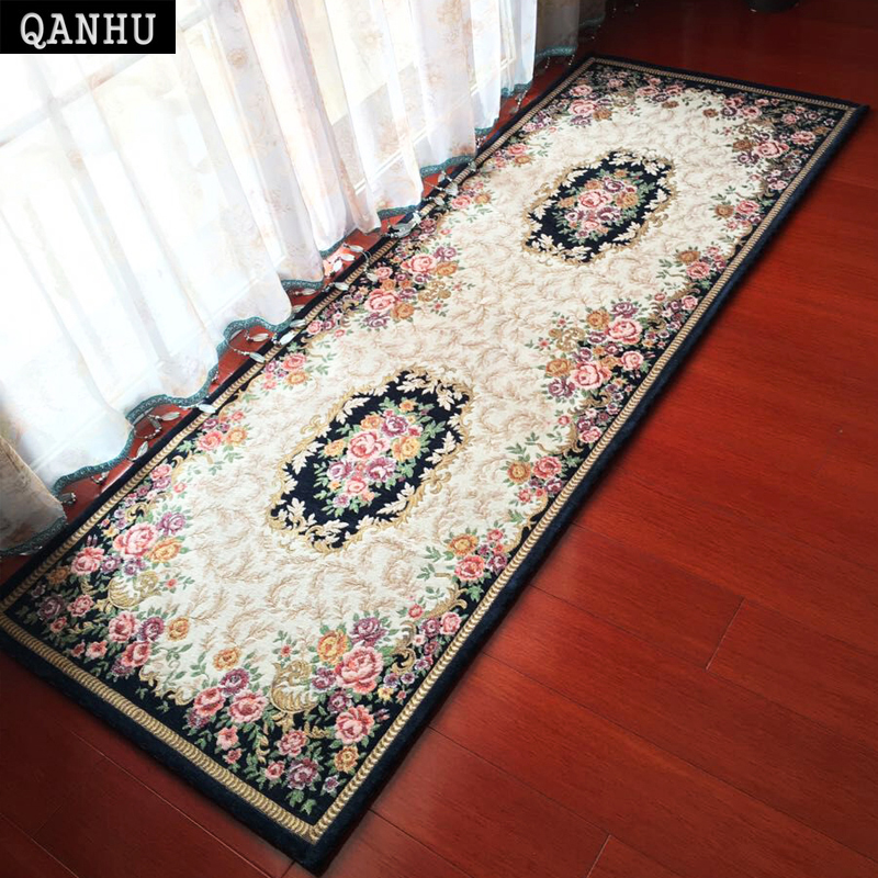 QANHU Europe Style Mat and Carpet Bedside/Window Finished Carpets Washable Anti-Slip Textile Alfombras 70*180cm 5 Colors #C-02