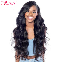 Satai Brazilian Body Wave 100 Human Hair Weaves Non Remy Hair Natural Color 8 26 Inches