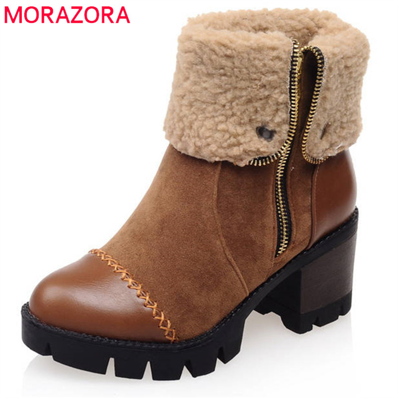 MORAZORA 2018 big size 34-43 ankle boots for women round toe winter snow boots simple zipper popular platform shoes woman morazora plus size 34 43 new keep warm ankle snow boots round toe pu soft leather platform shoes woman sweet women winter boots