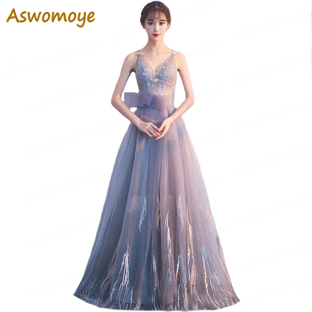 Aswomoye Haute Couture 2018 Women Long Evening Dress Sexy V-Neck Backless  Party Dresses A-Line Formal Prom Dress robe de soiree 810274bb417d