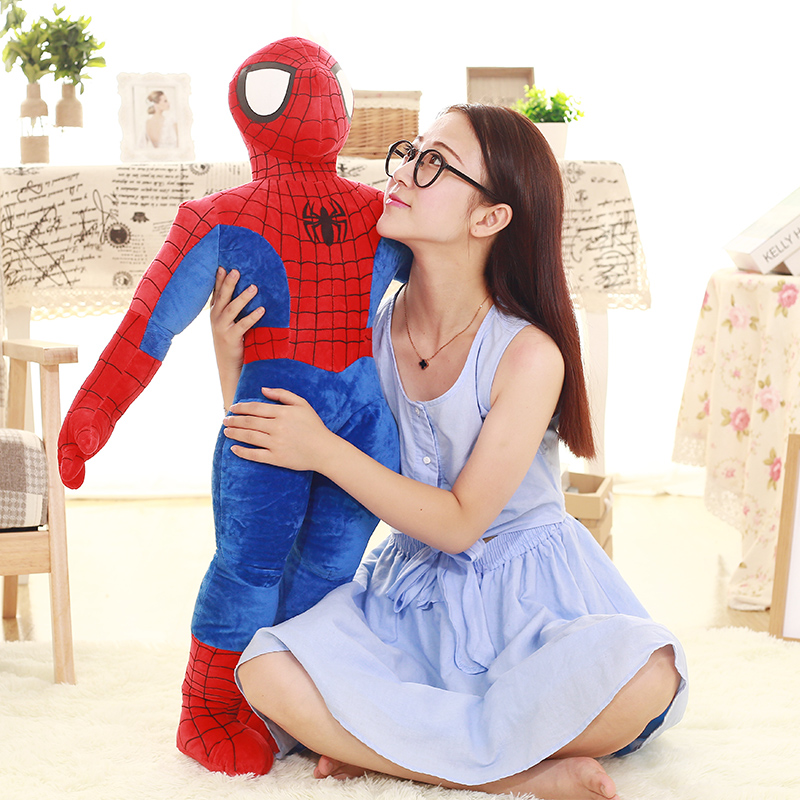 Hero!95cm High Quality Hot Comics Item Spider-Man Movie Figure Soft Stuffed Spiderman Plush Toy Doll  Kid Christmas Gifts