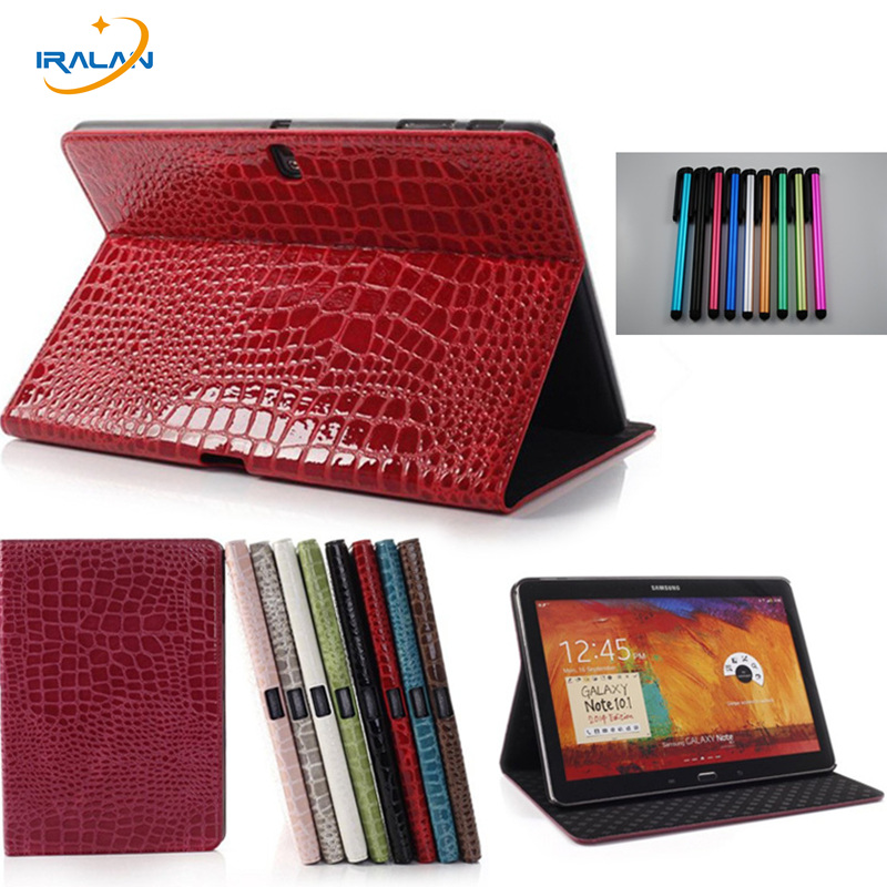 New Crocodile Case for Samsung Galaxy note 10.1 2014 edition p600 p601 Cover For Samsung Galaxy Tab Pro 10.1 T520 Skin Case+Pen 0 7mm metal aluminum case bumper for samsung galaxy note 3 iii n9000