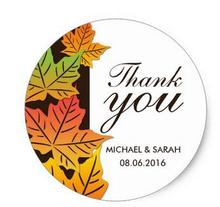 1.5inch Autumn Maple Leaf Wedding Favor Thank You Sticker