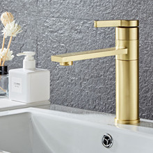 цена на Bathroom Faucet Solid Brass Bathroom Basin Faucet Cold And Hot Water Mixer Sink Tap Single Handle Deck Mounted Brushed Gold Tap
