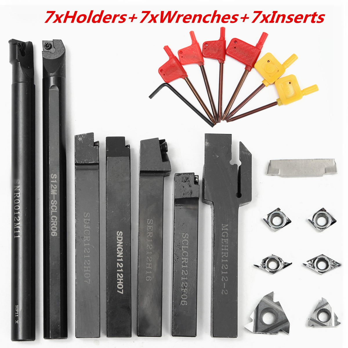 21Pcs/Set 12mm Shank Lathe Turning Tool Holder Boring Bar+ DCMT CCMT Carbide Insert + Wrench hot sale 7pcs set of 12mm cnc lathe turning tool holder boring bar with dcmt tcmt ccmt cutting insert with wrench