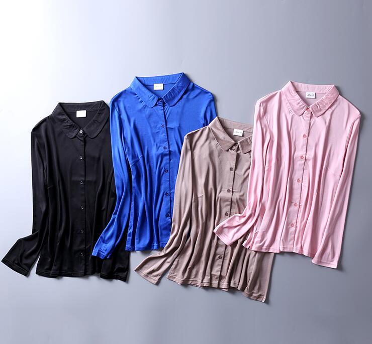 50% soie 50% Viscose femmes col chemise extensible couche de Base à manches longues T-Shirts Top SG400
