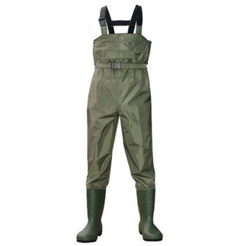 גבוהה-קפיצת 0.35mm לנשימה בגדי לדיג מגפים עמיד למים 700D ניילון + PVC חזה גובה כיס + חגורה ציד דגי סרבל