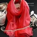Bufandas de Seda Bufanda de Las Mujeres de Moda genuino Clásico Gradiente de Color Rojo 2016 Del Verano Otoño Invierno Chal Collar de Buena Calidad