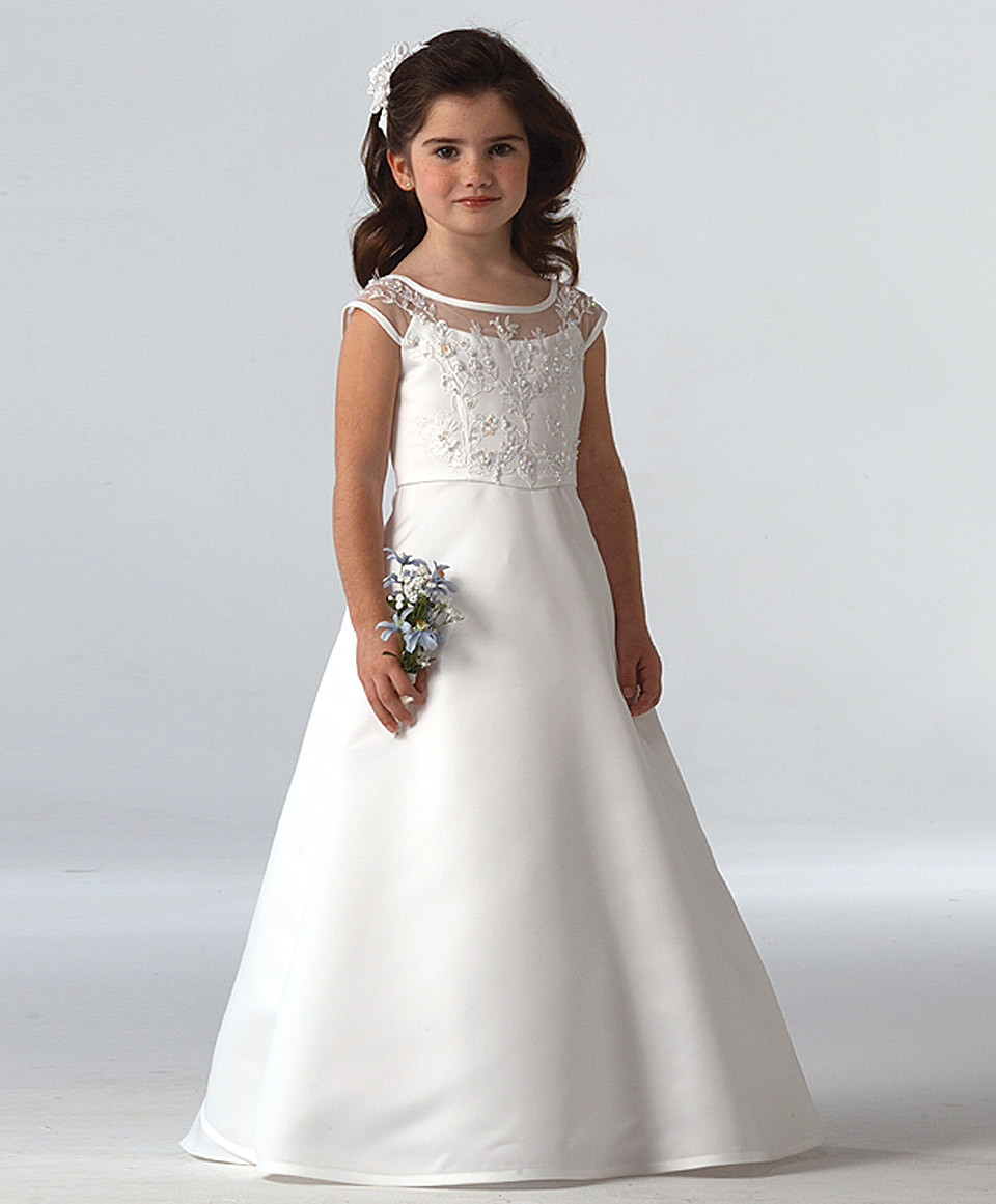 Elegant White Satin   Flower     Girl     Dresses   Scoop Neck A Line Long Length   Girls   Birthday Gown Vestidos de Comunion Size 2-14 Years