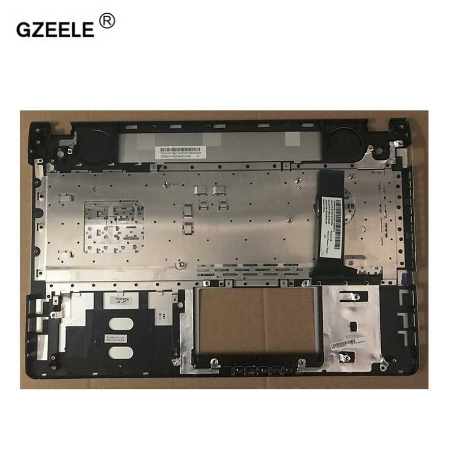 Gzeele Baru Kami Bahasa Inggris Keyboard Asus N56VB N56VJ N56VM N56VZ Penutup Atas Atas Kasus Palmrest Perak Topcase Keyboard Bezel